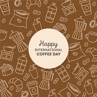 Dibujado día internacional del café.