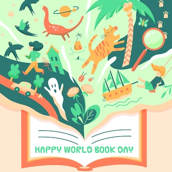 Dibujado día mundial del libro con ilustraciones mágicas