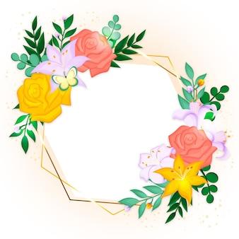 Dibujado hermoso marco floral de primavera