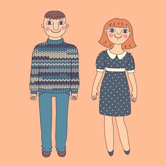 Dibujado hombre y mujer. pareja joven.