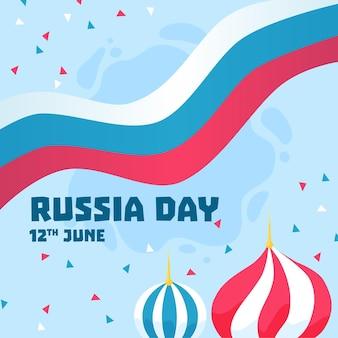 Dibujado a mano el 12 de junio día de rusia