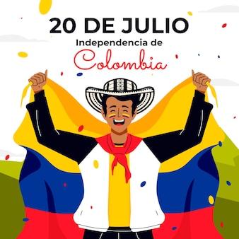 Dibujado a mano 20 de julio - independencia de colombia ilustración