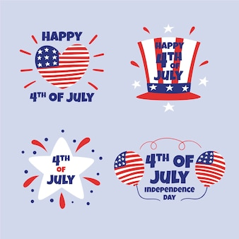 Dibujado a mano 4 de julio - colección de etiquetas del día de la independencia
