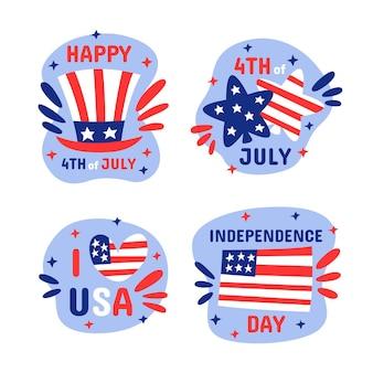 Dibujado a mano 4 de julio - colección de insignias del día de la independencia