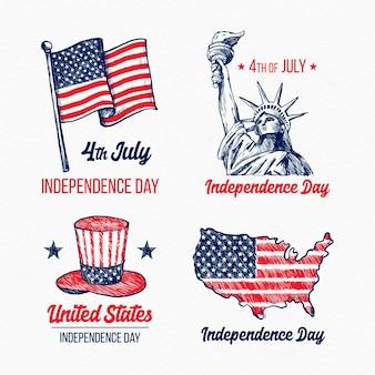 Dibujado a mano 4 de julio etiquetas del día de la independencia