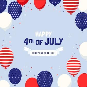 Dibujado a mano 4 de julio - fondo de globos del día de la independencia