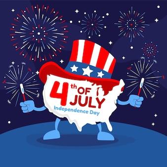 Dibujado a mano el 4 de julio - ilustración del día de la independencia