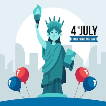 Dibujado a mano el 4 de julio - ilustración del día de la independencia vector gratuito