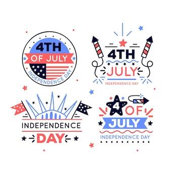Dibujado a mano el 4 de julio - insignias del día de la independencia
