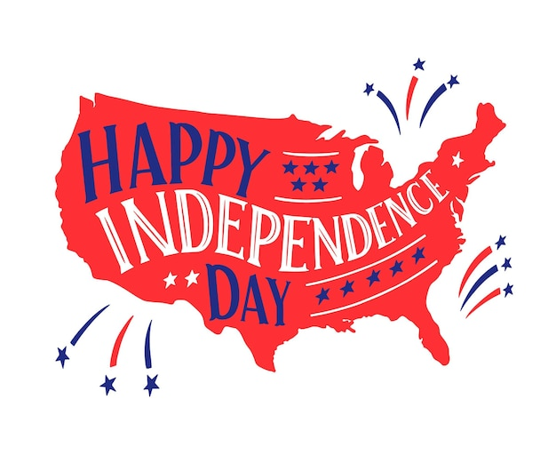 Dibujado a mano el 4 de julio - letras del día de la independencia