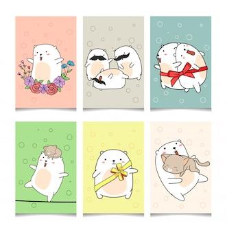 Dibujado a mano 6 tarjetas de felicitación kawaii personaje oso blanco