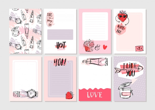 Dibujado a mano abstracta creativa girlie imprimible tarjetas de diario plantilla set colección en colores rosa pastel con elementos de moda de moda sobre fondo blanco.