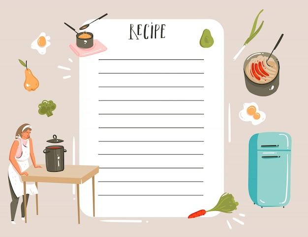 Dibujado a mano abstracta moderna caricatura cocina estudio ilustraciones receta tarjeta planificador templete con mujer, comida, verduras y caligrafía manuscrita sobre fondo blanco.