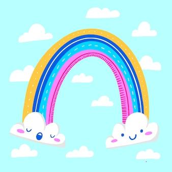 Dibujado a mano abstracto arco iris y nubes