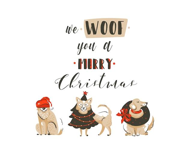 Dibujado a mano abstracto divertido cartel de ilustraciones de dibujos animados de feliz navidad tiempo con perros de navidad y texto de caligrafía manuscrita moderna we woof you a merry christmas aislado sobre fondo blanco.