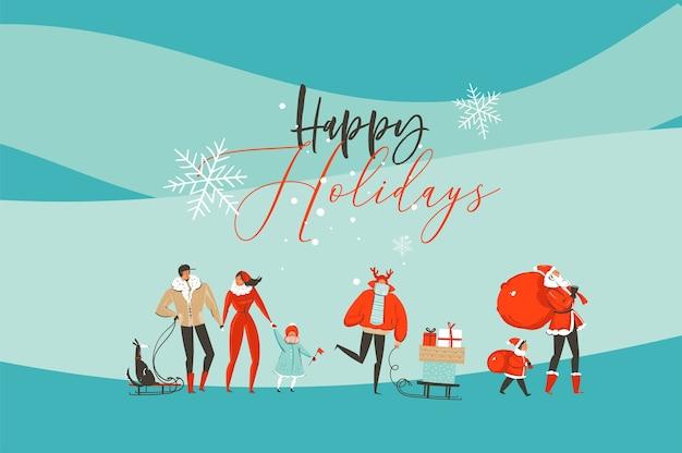 Dibujado a mano abstracto divertido feliz navidad y feliz año nuevo tiempo tarjeta de felicitación de ilustración de dibujos animados con gente de navidad aislada sobre fondo de artesanía.