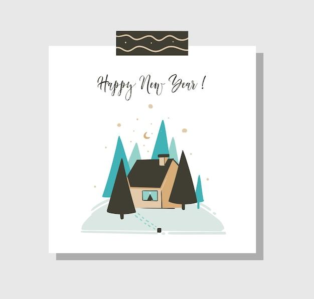 Dibujado a mano abstracto divertido feliz navidad plantilla de tarjeta de dibujos animados