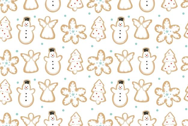 Dibujado a mano abstracto divertido feliz navidad tiempo ilustración de patrones sin fisuras