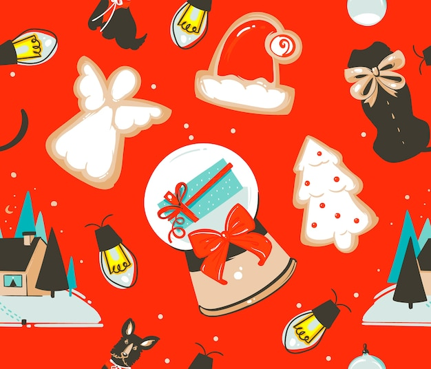 Dibujado a mano abstracto divertido stock plano feliz navidad y feliz año nuevo tiempo de dibujos animados festivo de patrones sin fisuras con lindas ilustraciones de juguetes vintage retro de navidad aislados sobre fondo de color.