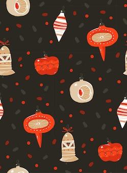Dibujado a mano abstracto feliz navidad y feliz año nuevo dibujos animados rústico festivo de patrones sin fisuras con lindas ilustraciones de navidad árbol juguetes bombilla guirnalda sobre fondo de confeti negro.