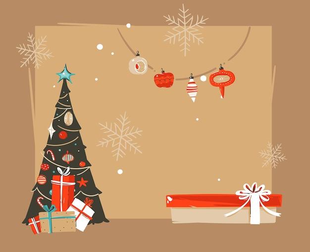 Dibujado a mano abstracto feliz navidad y feliz año nuevo ilustraciones de dibujos animados vintage saludo plantilla de encabezado con cajas de regalo sorpresa y lugar para el texto aislado sobre fondo marrón.