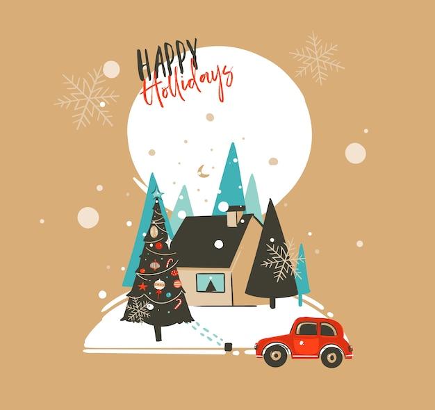 Dibujado a mano abstracto feliz navidad y feliz año nuevo tiempo ilustraciones de dibujos animados plantilla de tarjeta de felicitación con paisaje al aire libre, casa y nieve aislada sobre fondo marrón