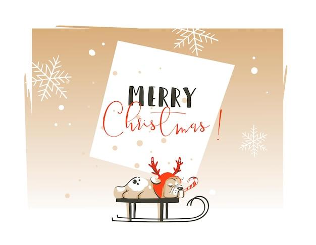 Dibujado a mano abstracto feliz navidad y feliz año nuevo tiempo ilustraciones de dibujos animados plantilla de tarjeta de felicitación con perro bulldog francés en trineo y texto de tipografía aislado sobre fondo blanco.