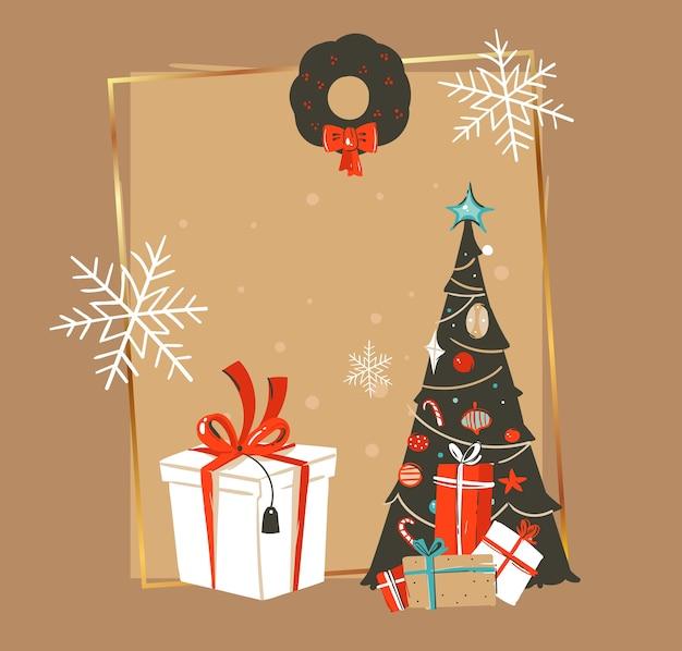 Dibujado a mano abstracto feliz navidad y feliz año nuevo tiempo vintage dibujos animados ilustraciones plantilla de tarjeta de felicitación con árbol de navidad, caja de regalo y lugar para el texto aislado sobre fondo marrón.