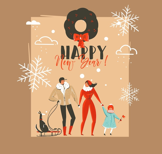Dibujado a mano abstracto feliz navidad y feliz año nuevo tiempo vintage dibujos animados ilustraciones plantilla de tarjeta de felicitación con familia caminando con perro en trineo aislado sobre fondo marrón.