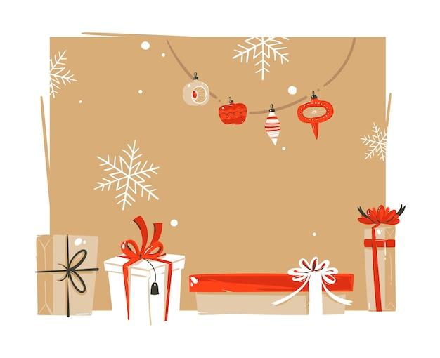 Dibujado a mano abstracto feliz navidad y feliz año nuevo tiempo vintage dibujos animados ilustraciones saludo