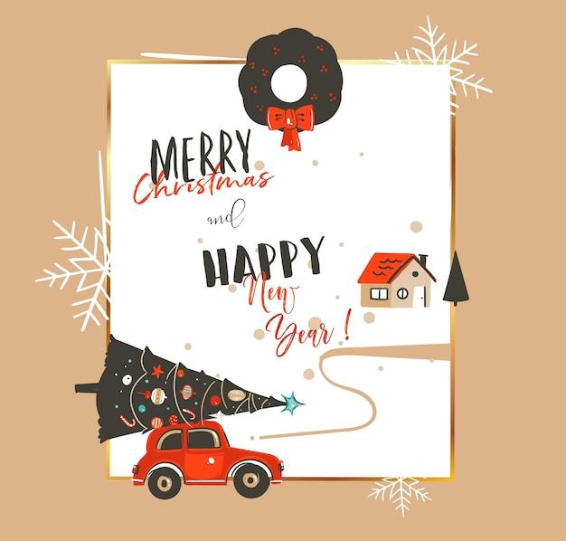 Dibujado a mano abstracto feliz navidad y feliz año nuevo tiempo vintage ilustraciones de dibujos animados plantilla de tarjeta de felicitación con coche, árbol de navidad, casa y tipografía moderna aislada sobre fondo blanco.