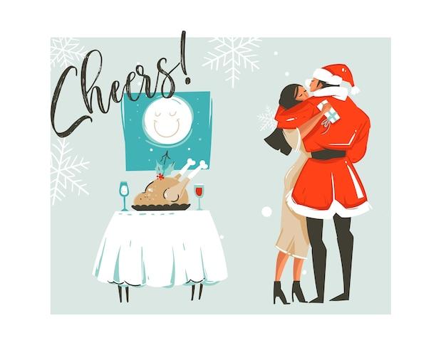 Dibujado a mano abstracto feliz navidad tiempo dibujos animados retro ilustraciones vintage