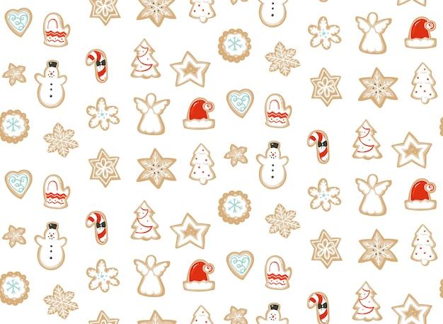 Dibujado a mano abstracto feliz navidad tiempo ilustración de dibujos animados de patrones sin fisuras