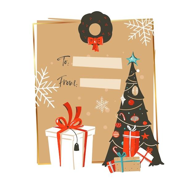 Dibujado a mano abstracto feliz navidad