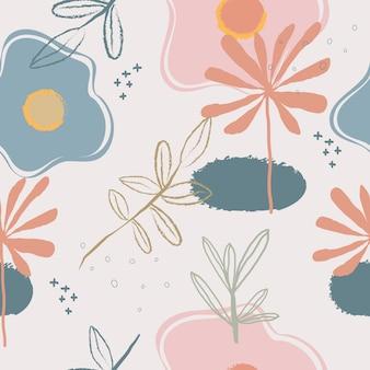 Dibujado a mano abstracto lindo flores de fondo transparente