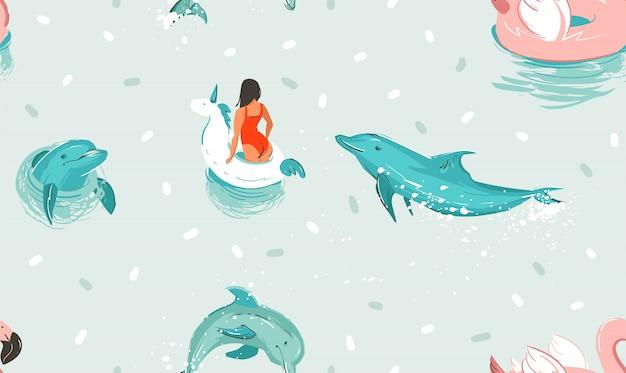 Dibujado a mano abstracto lindo verano ilustraciones de dibujos animados de patrones sin fisuras con unicornio anillo de goma y delfines en el fondo del agua azul del océano.