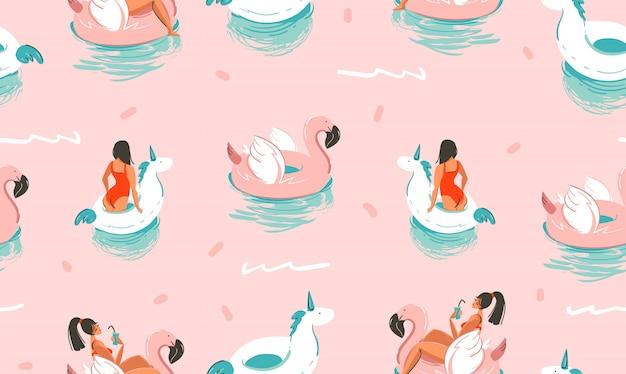 Dibujado a mano abstracto lindo verano ilustraciones de dibujos animados de patrones sin fisuras con unicornios y flamencos cauchos anillos y delfines sobre fondo rosa.