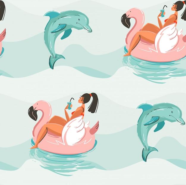 Dibujado a mano abstracto lindo verano de patrones sin fisuras con chica de playa nadando en círculo de flotador de flamenco rosado y delfines en fondo de textura de olas de agua de océano azul