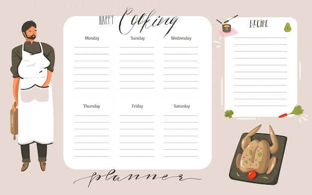 Dibujado a mano abstracto moderno de dibujos animados cocina clase de estudio ilustraciones planificador de cocina semanal y tarjeta de recetas templete con citas de caligrafía manuscrita aisladas sobre fondo blanco