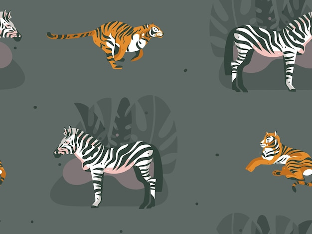 Dibujado a mano abstracto moderno gráfico africano safari naturaleza ilustraciones ornamentales