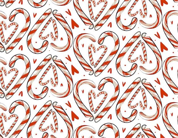 Dibujado a mano abstracto de patrones sin fisuras de navidad con bastones de caramelo