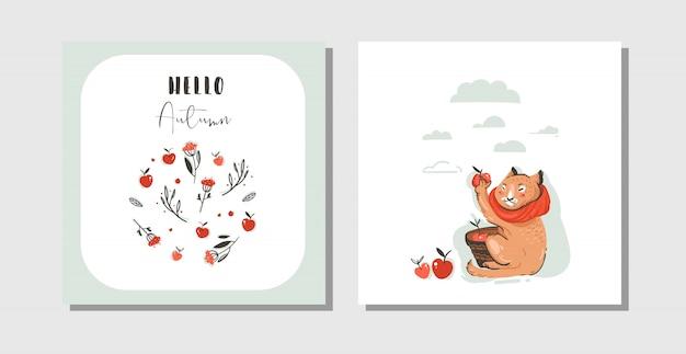 Dibujado a mano abstracto saludo dibujos animados otoño tarjetas set plantilla con carácter lindo gato recogido cosecha de manzana con tipografía moderna hola otoño sobre fondo blanco.