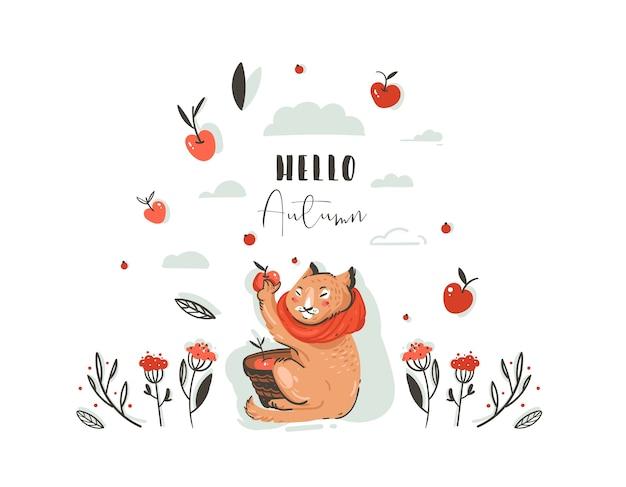 Dibujado a mano abstracto saludo ilustración otoño de dibujos animados con carácter lindo gato recogió cosecha de manzana con bayas, hojas, rama y tipografía hola otoño aislado sobre fondo blanco