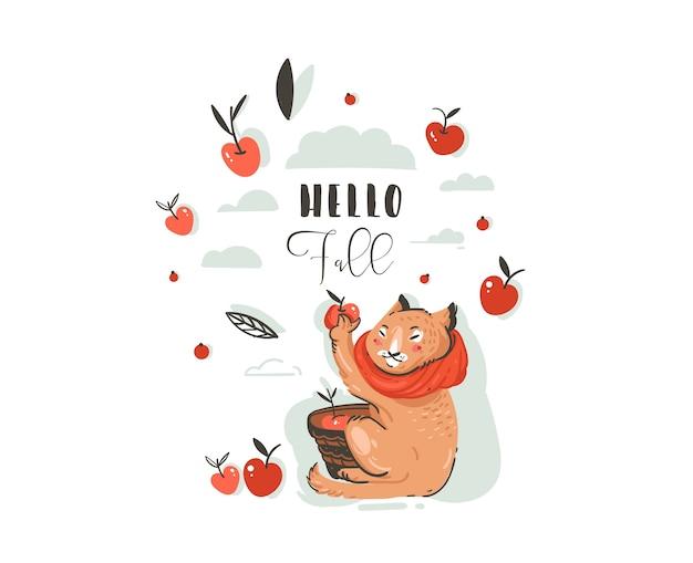 Dibujado a mano abstracto saludo ilustración de otoño de dibujos animados con carácter lindo gato recogió cosecha de manzana con bayas, hojas, rama y tipografía hola otoño aislado sobre fondo blanco.