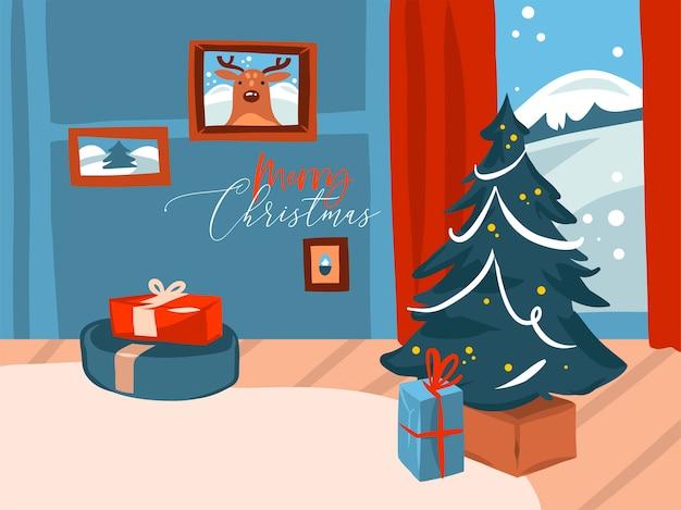 Dibujado a mano abstracto stock plano feliz navidad