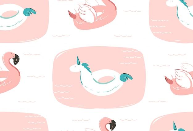Dibujado a mano abstracto verano diversión de patrones sin fisuras con flotador de flamenco rosa y círculo de boya de piscina de unicornio sobre fondo blanco.