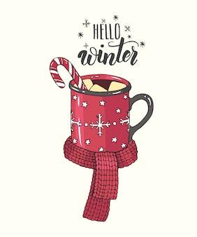 Dibujado a mano acogedora taza de chocolate caliente con malvaviscos, dulces y tejer bufanda en estilo boceto