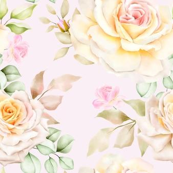 Dibujado a mano acuarela floral de patrones sin fisuras