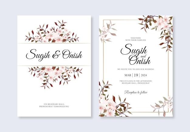 Dibujado a mano acuarela floral para plantilla de invitación de boda