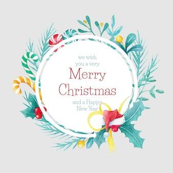 Dibujado a mano acuarela frontera círculo de navidad